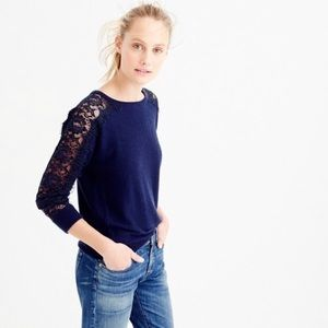 J. Crew Crewneck Edged Lace Sweater